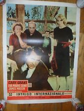 North By Northwest ORIGINAL 1960 ITALIAN 21x28 POSTER Alfred Hitchcock ON LINEN