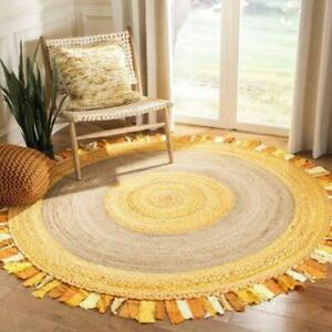 Jute and Cotton natural 100% Beautiful Area Rugs Round yellow Home Decor Rugs