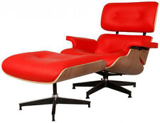 eMod Eames Style Lounge Chair & Ottoman Premium Reproduction Red Walnut