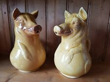 More details for pair china rustic vintage wild boar pig jugs 9 inch trotters farmyard