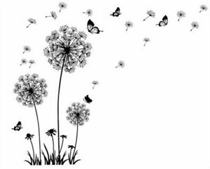 Wall Stickers Dandelion Fluff Butterfly Theme Living Room Decals Home Decoration