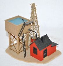 Detailed HO Scale Model Train Layout Scene Building Water Tower Pump House