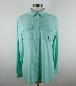 Cabelas Womens UPF 30 LS Button Up Teal Houndstooth Vented Outdoor Shirt Large