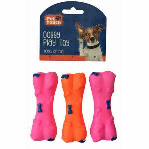 3 x Pet Chew Toys Rubber Bone Puppy Dog Teeth Toy Dental Cleaner