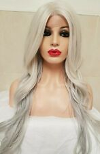 White Ice Blonde Silver Human hair wig, hand knotted, Lace Front