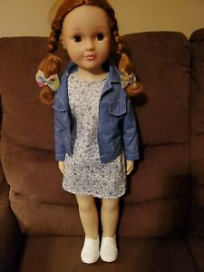 Vintage Uneeda Red Hair Brown Eyes Original Outfit & Shoes Doll Has Sleep Eyes
