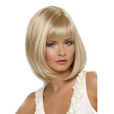 1PC Women Ladies Straight Human Hair Blonde Golden Bobo Wigs Hair Decor US