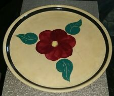 "EARLY 1950'S WATT 15"" OLD PANSY 3 CUT LEAF RF  SPAGHETTI PLATTER VIBRANT COLORS"