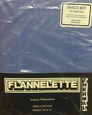 SINGLE BED FLANNELETTE FLAT SHEETS SHEET SET MID BLUE 100% COTTON LUXURY