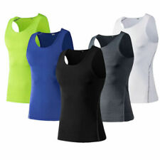 Mens Workout Compression Tank Tops Vests Gym Training Sportswear Athletic Tee