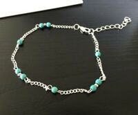 Turquoise Ankle Bracelet Silver Tone Womens Beaded Adjustable Blue Beach Anklet