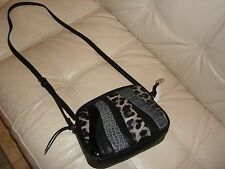 NEW CAROLS SANTANA  CROSS BODY BLACK LEATHER PATENT GRAY LEOPARD PURSE SMALL