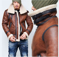 Men's Genuine Lamb Fur Lined Jacket Double Fur Collar Buckle Thicken Winter Xmas
