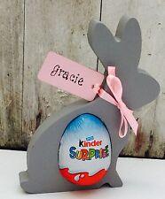 Personalised Easter Bunny Easter Egg Gift Kinder egg Holder Rabbit egg hunt Grey