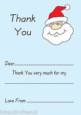 Christmas Thank You Notes x 20 A5 with envelopes - Blue Santa Claus