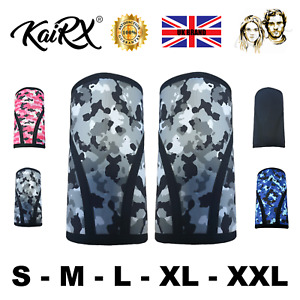 KaiRX Thick Knee Sleeves Weight Lifting Powerlifting Squat Support 7mm Camo UK