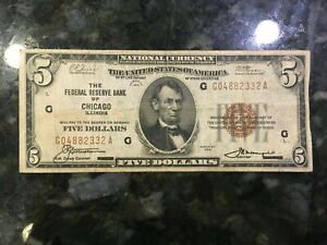 USA  5 Dollars  1929  -- FRB Chicago