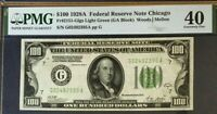 1928A $100 FEDERAL RESERVE NOTE CHICAGO BANK, PMG40 EXTREMELY FINE WOODS/MELLON