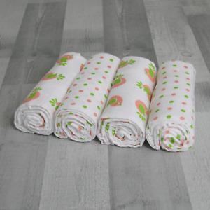 MuslinZ 4PK Baby Large Muslin Squares 100x90cms 100% Cotton - Pink SALE