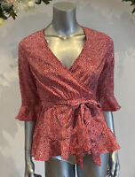 Boohoo Wrap Blouse Size 10 & 12 Red Spot Polka Print Belted Peplum Top New GW95