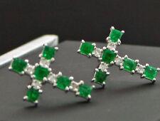 Smaragd Brillant Ohrstecker 750er KREUZCHEN NIEDLICH 15x11 mm Gold SW 1.366.-Eur