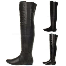 WOMENS LADIES HIGH OVER THE KNEE WIDE STRETCH PULL ON FLAT LOW HEEL BOOTS SIZE