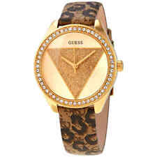 Guess Tri Glitz Quartz Crystal Gold Dial Ladies Watch W0884L9