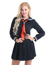Women's Long Sleeve School Girl Uniform Dress Sailor Outfit Set Cosplay Costumes