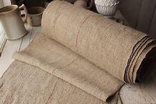 Vintage homespun grain sack fabric hemp 19.5 yds Red organic upholstery material