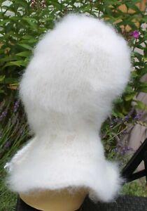 Mohair Balaclava Balaklava fuzzy thick langhaarig Schlüpfmütze weiß