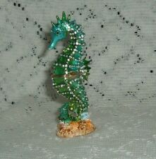 """BLUE GREEN SEA HORSE JEWELED PEWTER TRINKET BOX 4 1/2""""   NEW IN THE BOX 3279"""