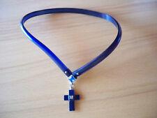 Halsschmuck Halsband  mit Kreuz blau  39 cm Komplettlänge