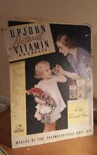 Original XL 1930/40s Upjohn Pharmaceuticals advertising Vitamins shop display