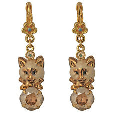 NEW KIRKS FOLLY ROYAL SIAMESE TOM CAT LEVERBACK EARRINGS  GOLDTONE