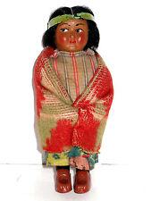 "Antique Vintage American Indian Girl 6.5"" Blanket Native Doll SKOOKUM BULLY GOOD"