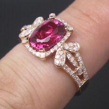 Tourmaline Engagement Diamonds Wedding Ring Solid 14K Rose Gold Natural Pink