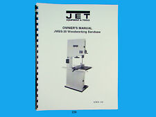 Jet JWBS-20 Woodworking  Band Saw  Operators & Parts List  Manual  *239