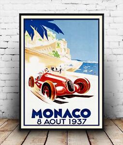 Monaco-1937 , Vintage Motor racing Poster reproduction.