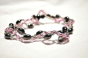 NEW! LADIES 10 IN BLACK HEMATITE & PINK CRYSTALS HEALING MAGNETIC ANKLET: 4 Pain