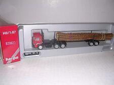 HERPA #820021  Man 10 Wheel Cab w/Log Trailor & Logs  Red H.O.Gauge