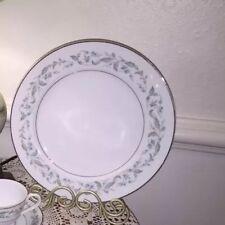 "Rose China Japan Louise 3803 Salad Plate Dish Green Silver Trim Pristine 7.5"""