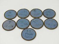Lot of Vintage Good Luck Tokens Blue Paper Metal Border 9 Coins