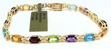 Genuine Multi-stone 10k Yellow Gold Bracelet
