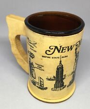 New York City Vintage Amber Brown Glass Wooden Veneer Handle Mug Cup Twin Towers