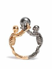 Alexander McQueen Double-skeleton ring gold-tone gunmetal Brass Pearl   9/11/13