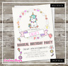 Magical Unicorn Birthday Invitations | Personalised | Envelopes | Party Invites