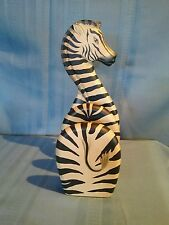 Wood Zebra Letter Holder Stand African Safari Decor Organizer by Tiger Lily