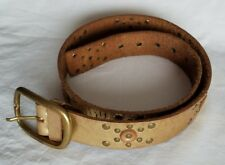Calvin Klein Genuine Leather Metallic Gold Brass Buckle Women Belt Size Medium