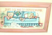 Funny Cat Picture Vtg Figi Graphics print Upcycled Pink Frame Housework humor