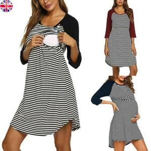 Pregnancy Maternity Womens Nursing Dress Summer Casual Breastfeeding Tops Size